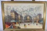Gilt Frame Oil - Paris Street Scene